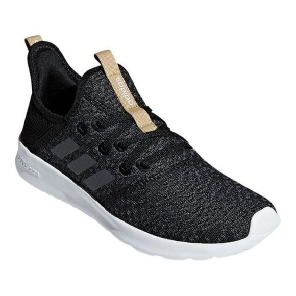 ADIDAS Cloudfoam Pure Black Gold Sneaker Shoe